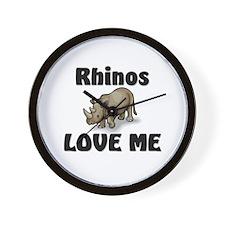 Rhinos Love Me Wall Clock