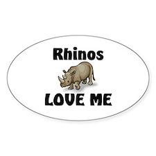 Rhinos Love Me Oval Decal