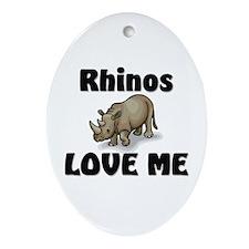 Rhinos Love Me Oval Ornament