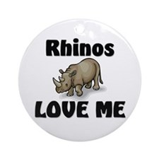 Rhinos Love Me Ornament (Round)