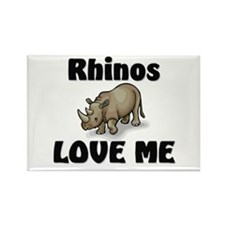 Rhinos Love Me Rectangle Magnet