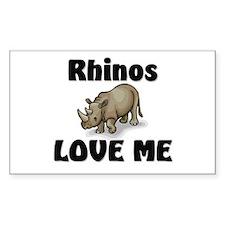 Rhinos Love Me Rectangle Decal