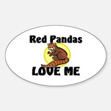 Red Pandas Love Me Oval Decal