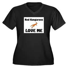 Red Kangaroos Love Me Women's Plus Size V-Neck Dar