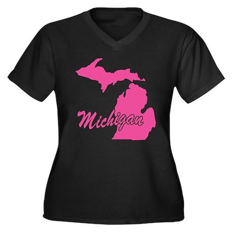 Pink Michigan Women's Plus Size V-Neck Dark T-Shir