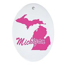 Pink Michigan Oval Ornament