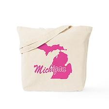 Pink Michigan Tote Bag