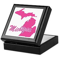 Pink Michigan Keepsake Box