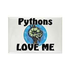 Pythons Love Me Rectangle Magnet