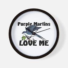 Purple Martins Love Me Wall Clock