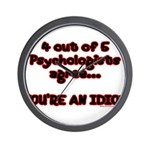 4 outta 5 Psychologists Wall Clock