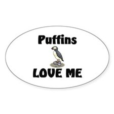 Puffins Love Me Oval Decal