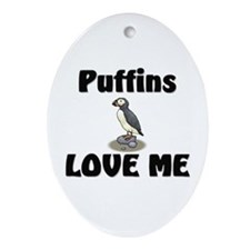 Puffins Love Me Oval Ornament