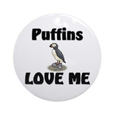 Puffins Love Me Ornament (Round)