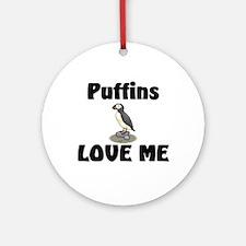 Puffins Love Me Ornament (Round)