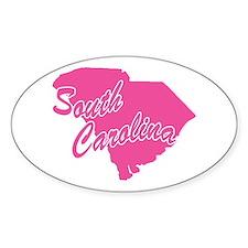 Pink South Carolina Oval Decal