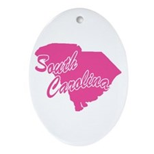 Pink South Carolina Oval Ornament