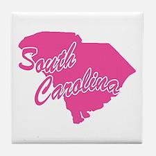 Pink South Carolina Tile Coaster
