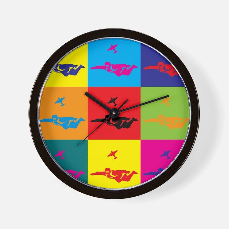 Skydiving Pop Art Wall Clock