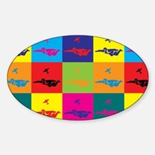 Skydiving Pop Art Oval Decal