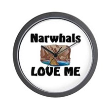 Narwhals Love Me Wall Clock