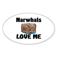Narwhals Love Me Oval Decal