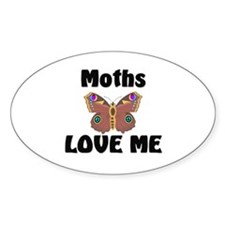 Moths Love Me Oval Decal