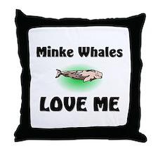 Minke Whales Love Me Throw Pillow