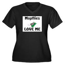 Mayflies Love Me Women's Plus Size V-Neck Dark T-S