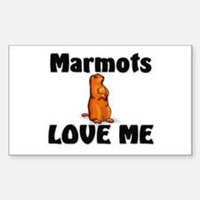 Marmots Love Me Rectangle Decal