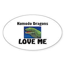 Komodo Dragons Love Me Oval Decal
