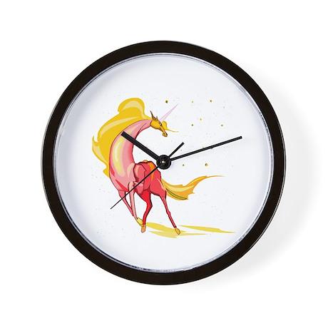 Yellow & Orange Unicorn Wall Clock