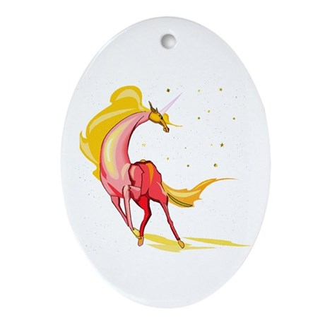 Yellow & Orange Unicorn Keepsake (Oval)
