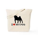 I love pug Totes & Shopping Bags