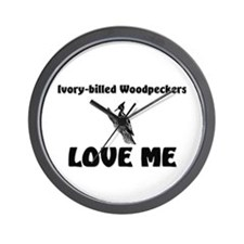 Ivory-Billed Woodpeckers Love Me Wall Clock