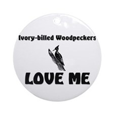Ivory-Billed Woodpeckers Love Me Ornament (Round)