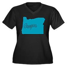 State Oregon Women's Plus Size V-Neck Dark T-Shirt
