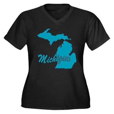 State Michigan Women's Plus Size V-Neck Dark T-Shi