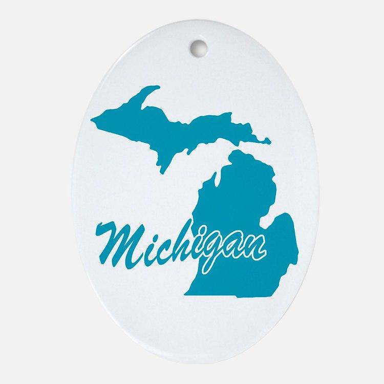 State Michigan Oval Ornament