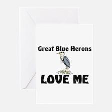 Great Blue Herons Love Me Greeting Cards (Pk of 10