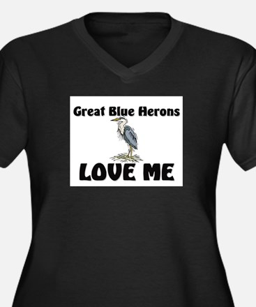 Great Blue Herons Love Me Women's Plus Size V-Neck
