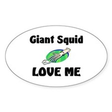 Giant Squid Love Me Oval Sticker
