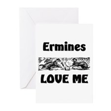 Ermines Love Me Greeting Cards (Pk of 10)