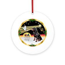 XmasDove-Rottweiler Ornament (Round)