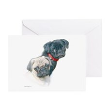 Two Pugs Greeting Cards (Pk of 10)