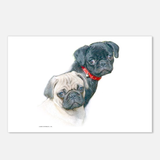 Two Pugs Postcards (Package of 8)