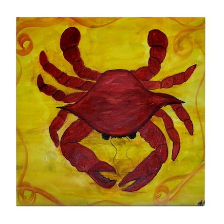 Red Crab Art Tile Coaster