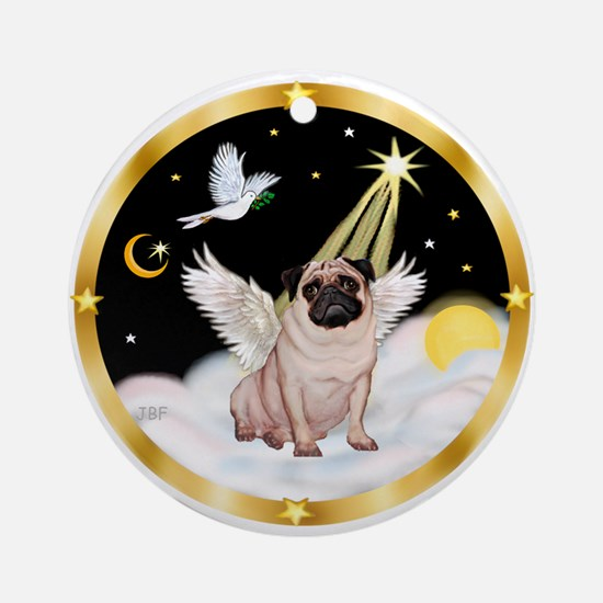 Pug Angel in Heaven (#1) Ornament (Round)