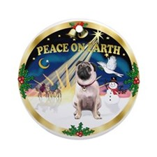 XmasSunrise-PEACE... Pug (#1) Ornament (Round)
