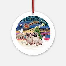 Xmas Magic - 2 Fawn Pugs (pair 2) Ornament (Round)